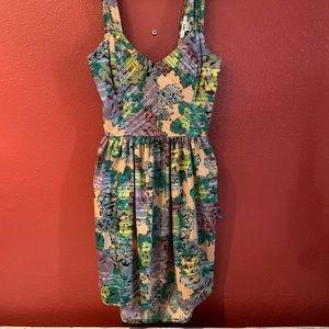 Geometric Flower Print Dress